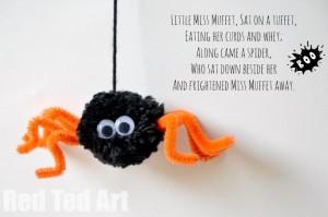 Little Miss Muffet Craft - Pom Pom Spider