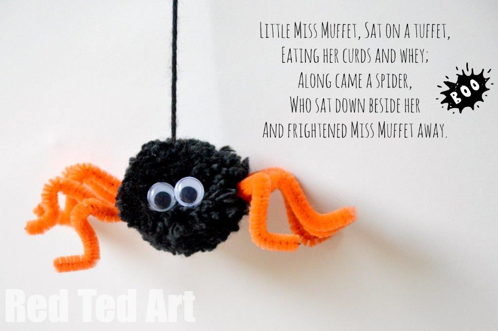 Little Miss Muffet Craft - Pom Pom Spider
