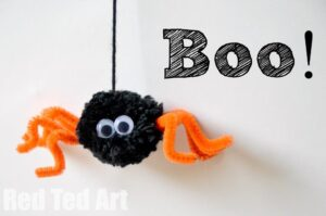 Spider Craft - how we love pom poms!