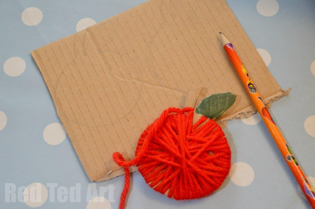 Yarn Wrapped Apple Craft