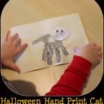 halloween hand print cat