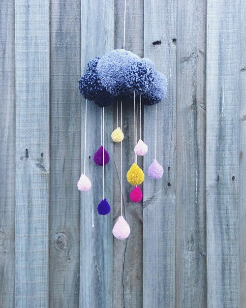 pom pom rain cloud decoration