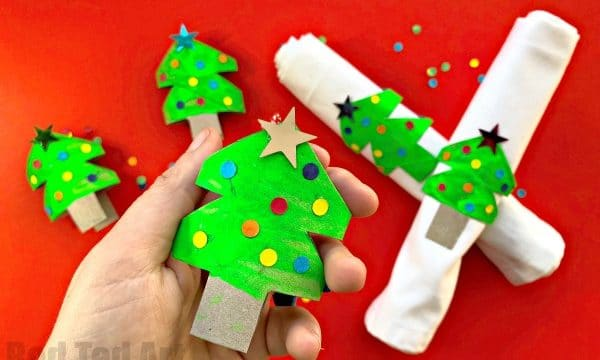 Toilet Paper Roll Christmas Tree Napkin Rings & Ornaments