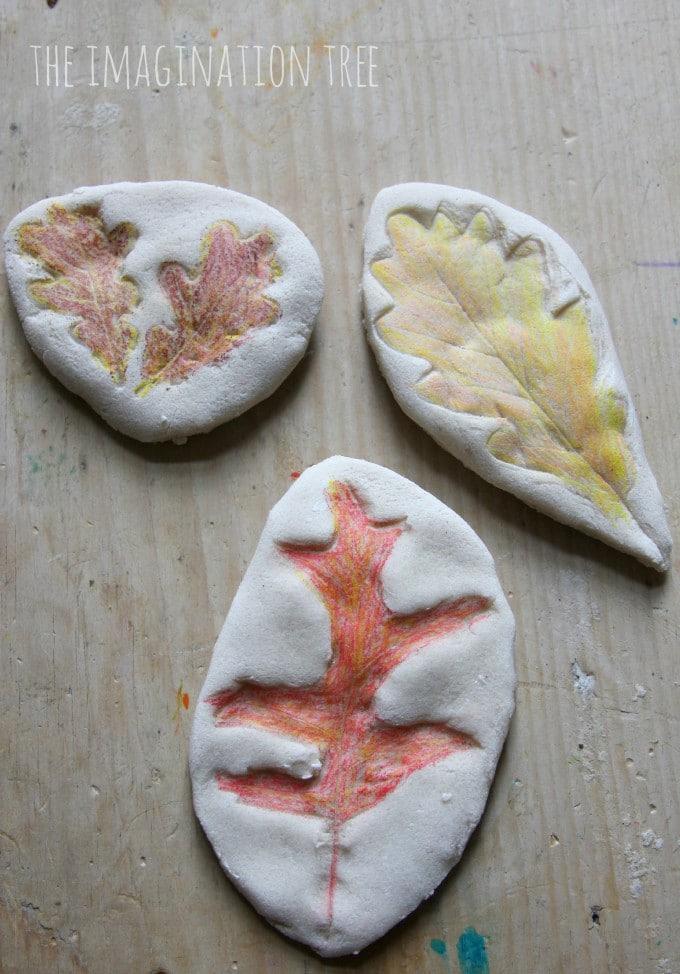 Salt Dough Craft Ideas For Kids Part - 42: Coloured-salt-dough-leaf-impressions-680x974