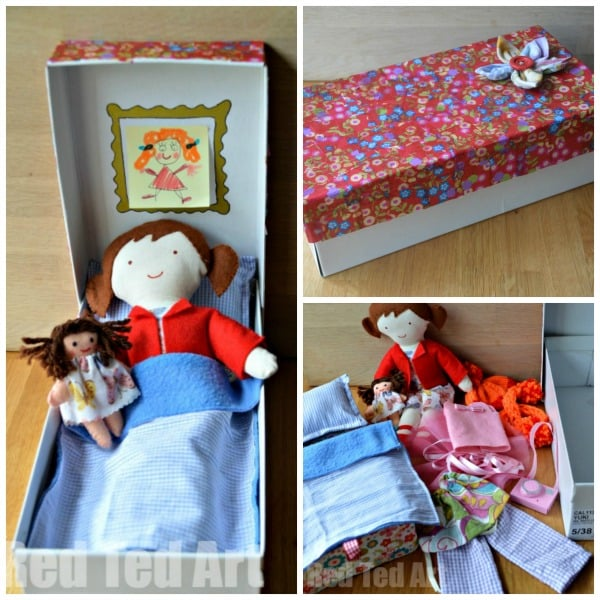 Doll in a Box - Gift Set #doll #diydoll #giftset #giftsforkids #shoebox #dollinabox #sewing
