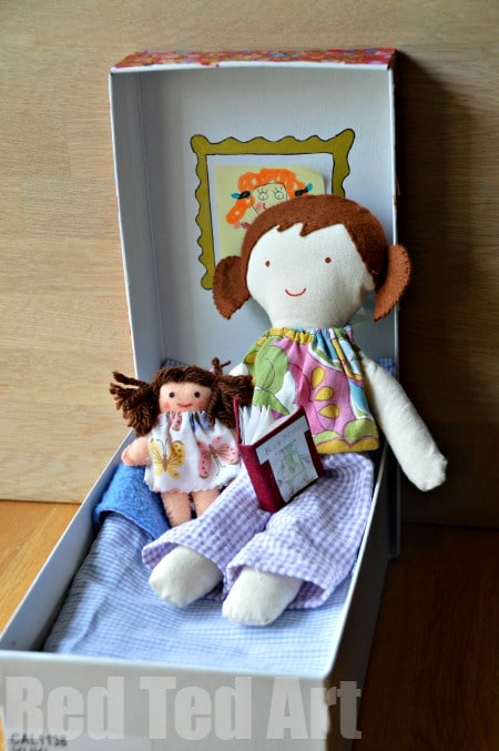 Doll in a Box - Ready For Bed.  #doll #diydoll #giftset #giftsforkids #shoebox #dollinabox #sewing