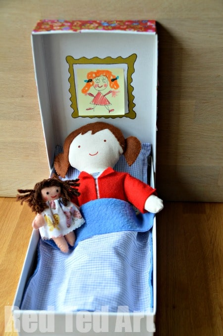 Doll in a Box - all tucked up.  #doll #diydoll #giftset #giftsforkids #shoebox #dollinabox #sewing