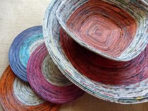 Newspaper Craft Ideas - Newspaper Bowls and mats
