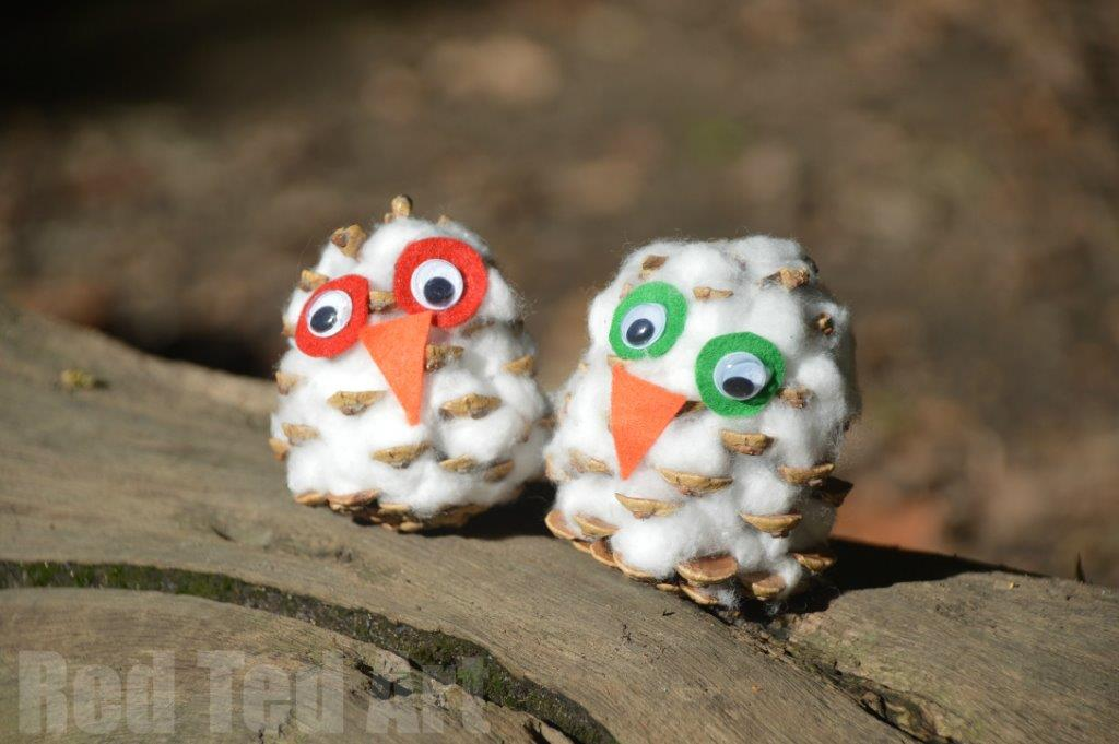 Snow owl pine cone craft for kids red ted art 39 s blog for Pine cone crafts for children
