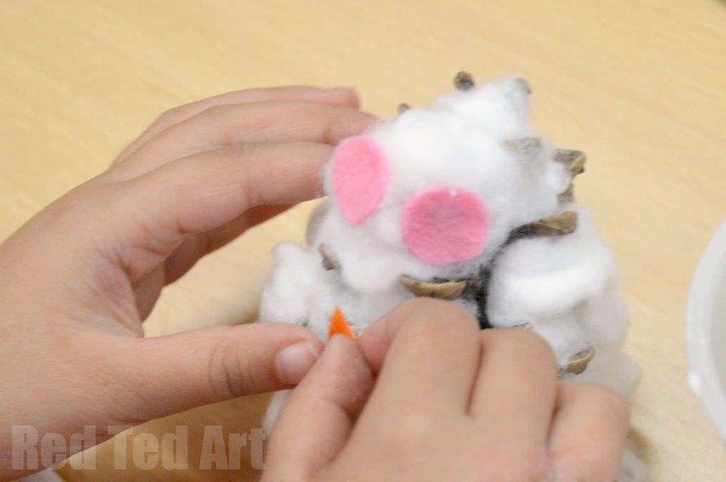 Snow Owls Pine cone crafts