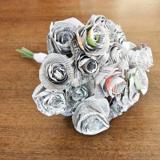 newspaper roses bouquet
