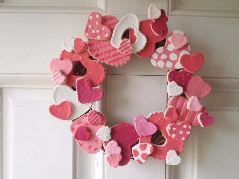 salt dough valentines wreath