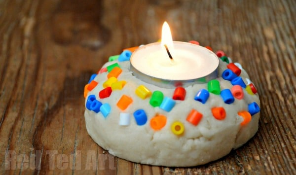 simple saltdough crafts - votives for Diwali or Christmas