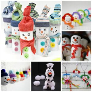 30 Wonderful Snowmen Crafts. Oh these guys crack me up - a fun game of Snowman Bowling (add numbers to the backs and you can incorporate some counting and adding practice) made from old socks and tp rolls! Just brilliant. #snowman #snowmancraft #snowmen #tprollsnowamn #snowmangames #snowday