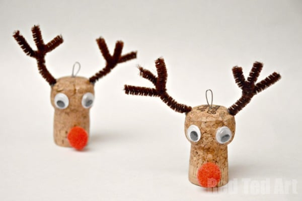 christmas ornaments reindeer cork craft