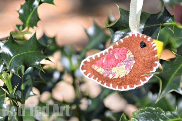 Felt Bird Christmas Ornament