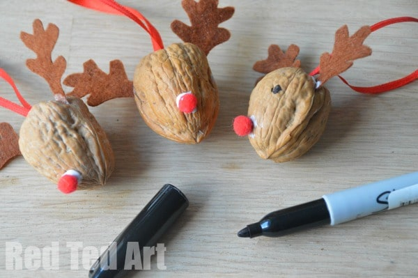 Reindeer Crafts - Walnut Ornaments