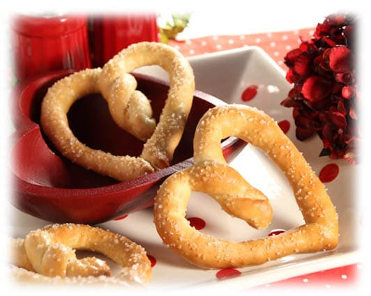 heart pretzels for Valentine's Day
