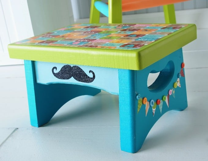 Circus-themed-stool-a-mustache-craft