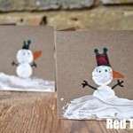 Cork Print Snowman Cards - Christmas Cards for Kids To Make