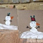 Cork Print Snowman Cards