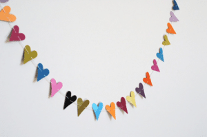 Mini heart Valentines day bunting