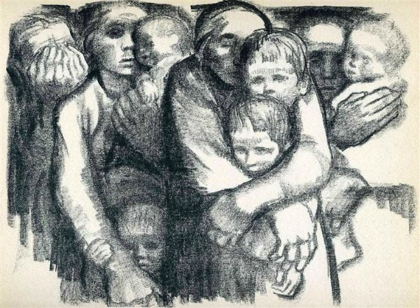 The Art Curator for Kids - 5 Artworks about Love - Kathe Kollwitz, The Mothers, 1919, Public Domain
