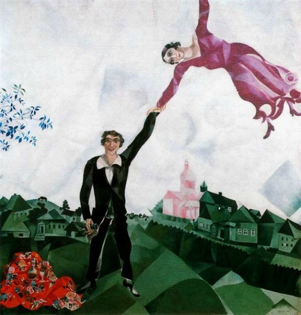 The Art Curator for Kids - 5 Artworks about Love - Marc Chagall - The Promenade - 1918 - Public Domain
