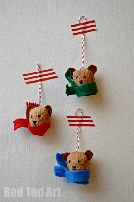 Walnut Crafts - Cute Winter Bear Ornaments