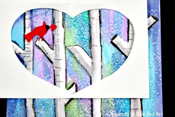 birch tree painting heart template
