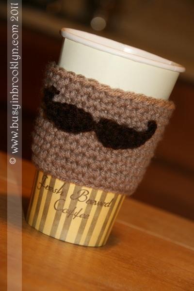 coffee cup cozy moustache
