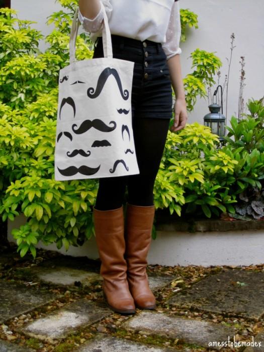 moustache tote craft