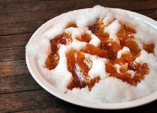 snow activities ice maple syrup