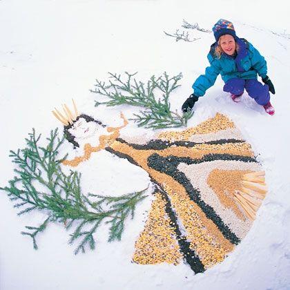 snow day activities - bird seed snow art