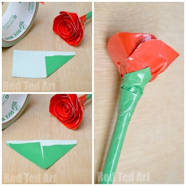 Duct tape rose pens how to red ted arts blog duct tape rose how to mightylinksfo