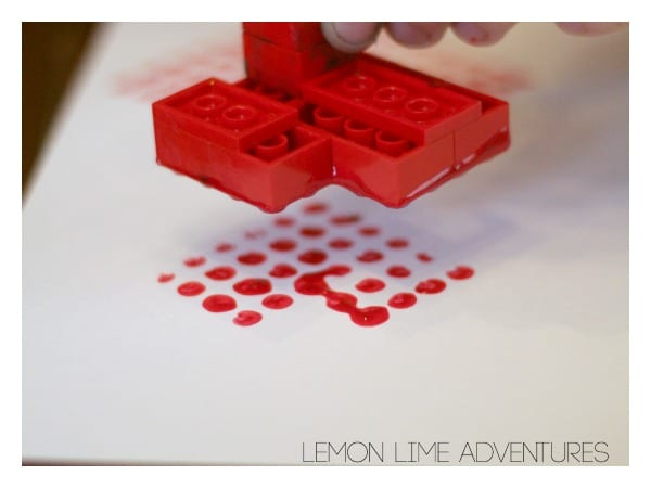 Stamping Lego Hearts