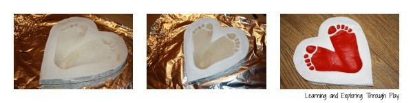 This is how easy it is to make a footprint keepsake for valentine's day. LOVE this fantastic salt dough recipe