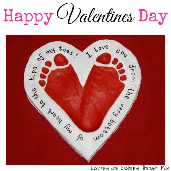 Valentine Day Craft Ideas For Kids Part - 38: Footprint Keepsake For Valentineu0027s Day - This Is An Easy Salt Dough  Footprint Keepsake That Will