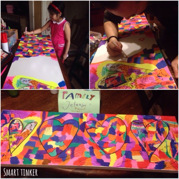 Family Heart Project inspired by Jim Dine