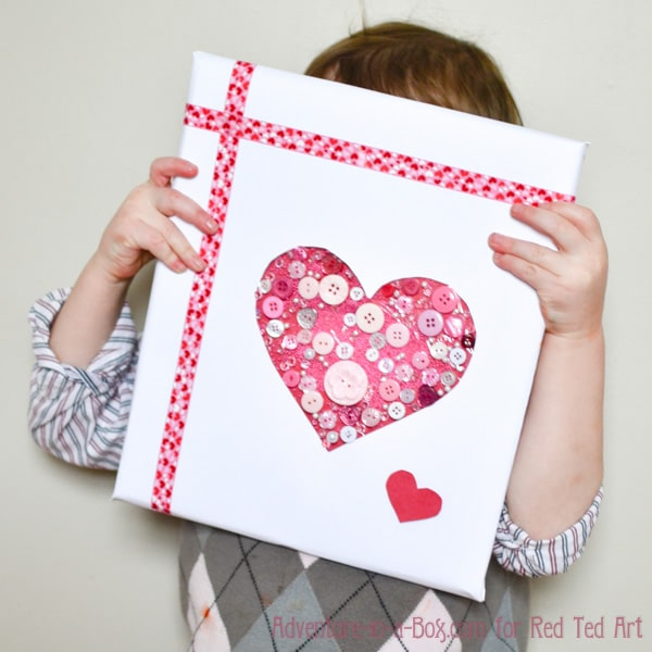 Valentine Gift Idea 2 Home Decor Frame Layout: Button Heart Gift Wrap For Valentine's Day