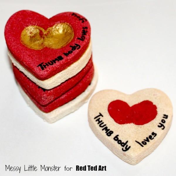 Valentine's Day Gifts - Thumbprint Heart Keepsakes - great salt dough crafts