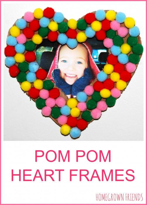 Pom Pom Heart Frames - Red Ted Art\'s Blog