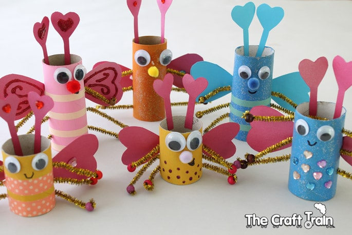Christmas decorations using construction paper - Toilet Roll Love Bugs For Valentine S Day Red Ted Art S Blog