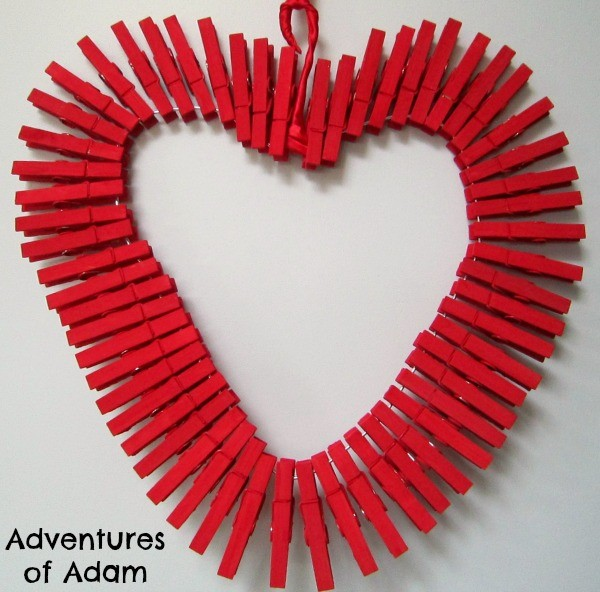 Kid made clothespin heart