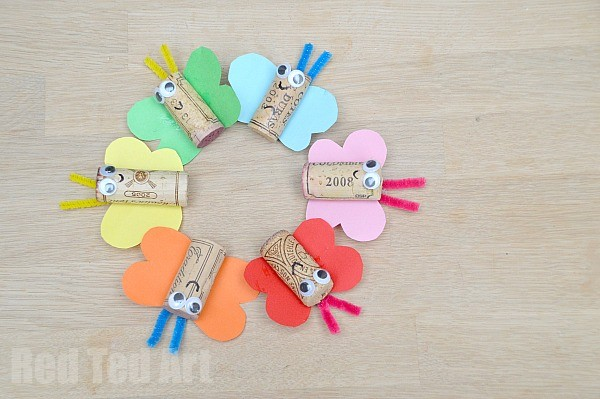 Rainbow Butterfly Cork Crafts - a lovely recycled Spring Craft