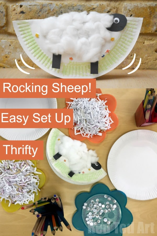 Easy Rocking Paper Plate Sheep Craft for at home or in the classroom. A super fun little Spring Craft or Easter Craft for Preschool!
