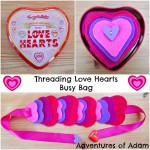 Threading love hearts busy bag Adventures of Adam