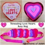 Threading love hearts busy bag Adventures of Adam