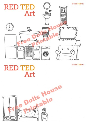 free dolls house printable - visit Red Ted Art to download
