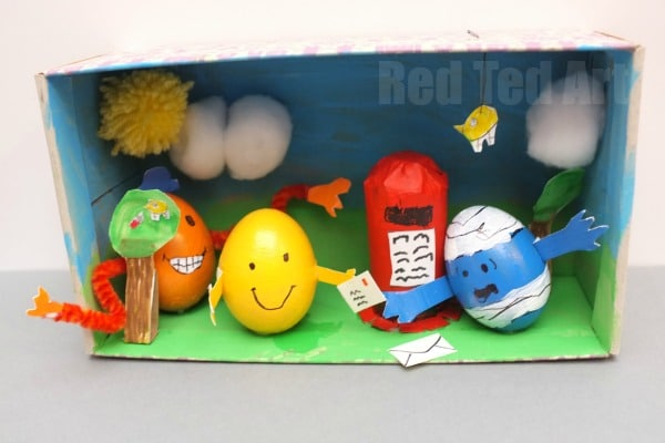 Mr Men Egg Decorating Diorama for the School Egg Decorating Competition